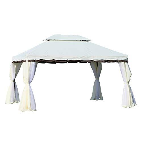 Outsunny - Cenador Barnum de jardín estilo colonial, doble tejado, mosquiteras y lonas extraíbles, 3,9 x 2,9 x 2,8 m, color crema, tamaño 390x290x280cm, 153.54 x 114.17 x 110.24inches