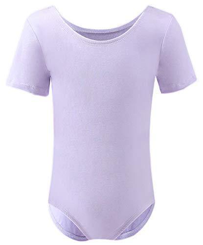 Dancina Toddler Ballet Leotard Short Sleeve Cotton Soft Full Front Lined Unitard 2T Lavender