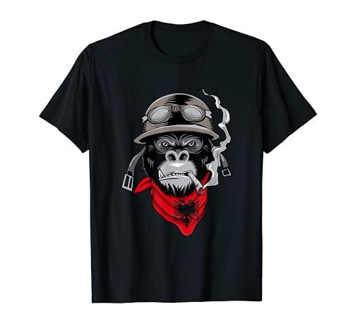 Albanien T-Shirt Gorilla Motorrad Fahrer Albaner Biker