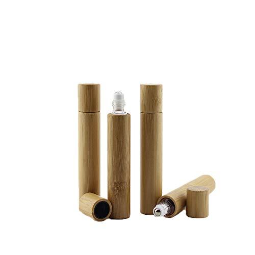 JIHUOO 2 Pièces 10ml Bambou Roll-on Bouteilles Huile Essentielle Flacon Vide Bouteilles Echantillon Bouteille