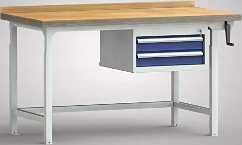 KLW Hydraulikwerkbank höhenverstellbare Werkbank mit Handkurbel 1200x800x750-1050 mm LxTxH 2 Schubladen WPHL05-12M45-E3D01