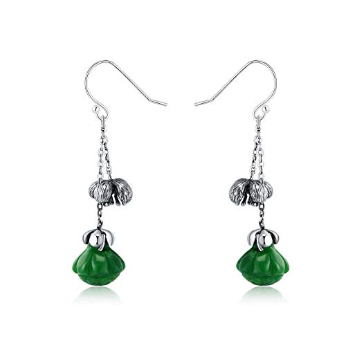 S925 / 925 Sterling Silver Gold-Plated Gemstone Crystal Earrings, High-End Elegant Ladies Jade Earrings, Perfect Holiday Gifts For Ladies, Low Strain And Nickel-Free Pendant Earrings green