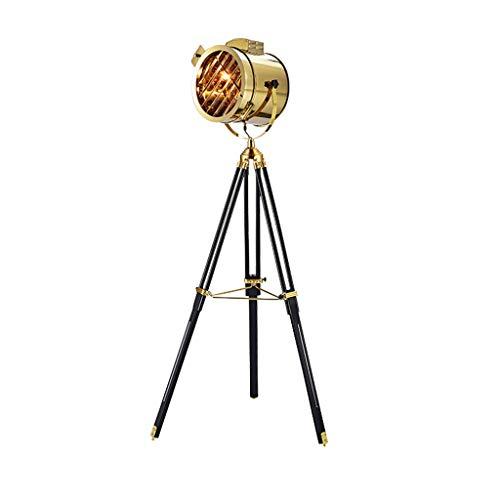 FYounLight staande lamp met voet, Design Loft op voet, zwart, chroom, Scandinavisch licht, staande lamp, LED, modern, goudkleurig, verchroomd, kleur metaal, hout