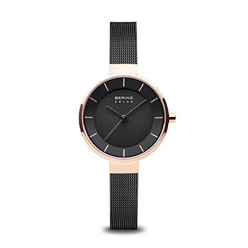 BERING Damen Analog Solar Uhr mit Edelstahl Armband 14631-166