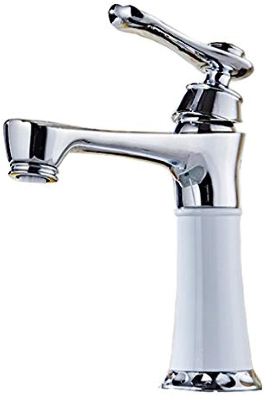 JFFFFWI Weier Hahn-Kupfer-Einlochmontage-heies und kaltes Badezimmer-Waschbecken-Mischventil-europische ffnung 32MM bis 40MM kann angebracht Werden