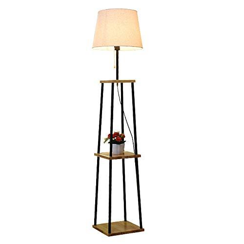 WYY staande lamp voor woonkamer, leeslamp vloerlamp voor slaapkamer, stoffen kap met planken, van hout, moderne lampen ter decoratie van het huis voor eetkamer