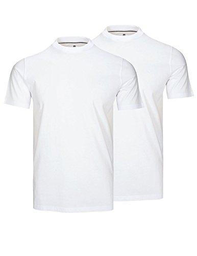 T-Shirt Herren Weiß M | 2er Pack | Rundhals Basic Regular Fit
