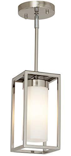 Polished Nickel Box Light Pendant LED Cage Lighting Hanging Fixture