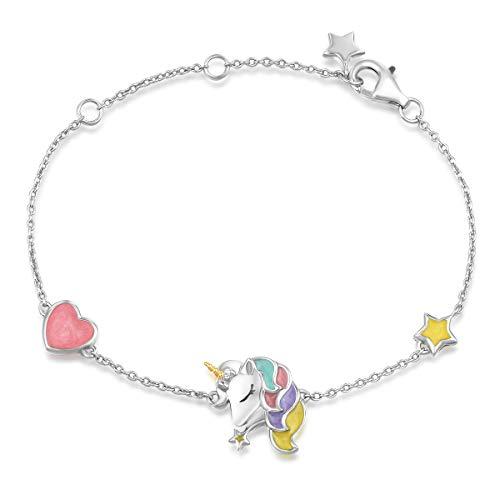 Einhorn Armband aus 925 Sterling Silber mit Emaille Art Plattiert Herz-Forme Unicorn Schmuck für Damen Kinder, mit Geschenk Box - Verstellbar Armkette: 17 + 3 cm