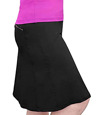 Kosher Casual Women's Modest Knee-Length Swim Sport Skirt with Built-in Shorts - Skort Style Large Black