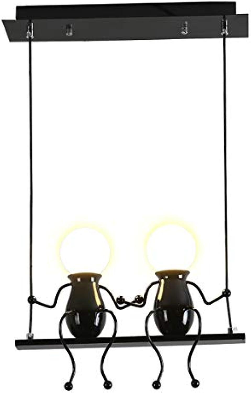 Pendelleuchte Schwarz LED Kreativ Kronleuchter Modern Design Karikaturen Charakter Deckenbeleuchtung Esszimmer Schlafzimmer Wohnzimmer Kinderzimmer Deko Einstellbar Hngeleuchte Eisen E27 (Schwarz)