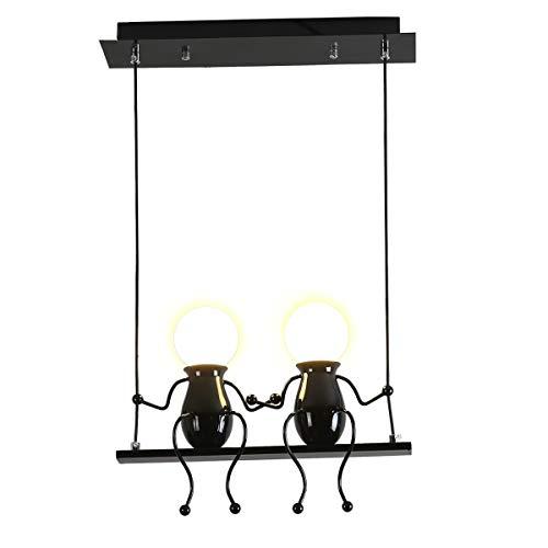 Creativo Illuminazione a sospensione a LED Moderno Doppio Piccole persone Lampada Regolabile Impiccagione Luci Sala da pranzo Ferro fumetto Bambola Lampadari a sospensione a soffitto 2×E27 (Nero, Two)