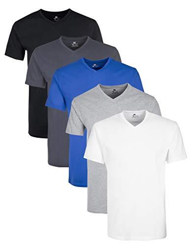 Lower East Herren mit V-Ausschnitt T-Shirt, Mehrfarbig(Weiß GreyWeiß/Schwarz/Olympia Blau/Hellgrau Melange/Folkstone Grey), XX-Large (per of 5)