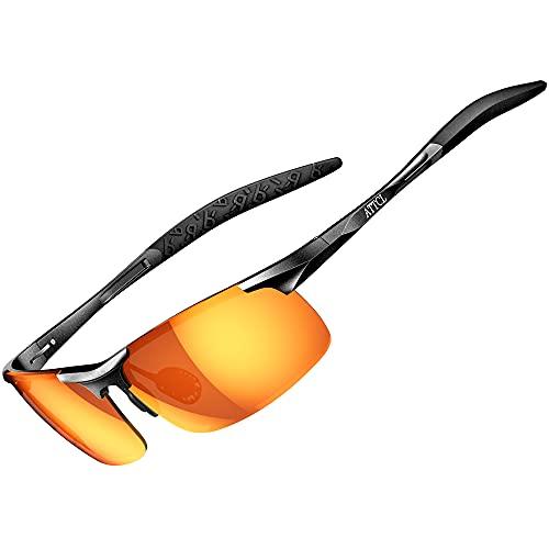 ATTCL Hombre Gafas De Sol Deportes Polarizado Súper Ligero Al-Mg Marco De Metal 8177 Black-RED