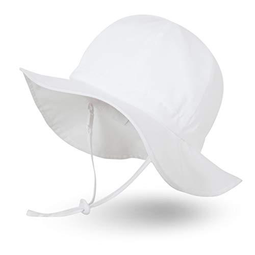 Ami&Li tots Niña Sombrero de Sol ala Ancha Ajustable Sombrero Protección Solar UPF 50 para Bebés, Niñas Niños Infantil Pequeñito Unisexo - L: Blanco