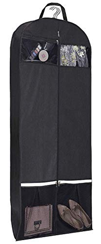 KIMBORA 54' Trifold Dress Garment Bags for Travel Gusseted Suit Cover with 2 Large Mesh Shoe Pockets (Black)