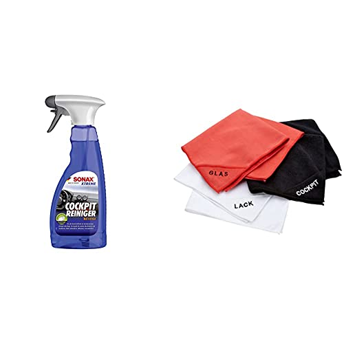 SONAX 02832410-544 Xtreme CockpitReiniger Matteffect (500 ml) Reinigung und Pflege für alle Kunststoffoberflächen im Autoinnenraum | Art-Nr.2832410 & NIGRIN 71111 Microfaser-Set (Lack, Glas, Cockpit)
