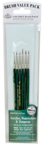 Royal & Langnickel RSET-9139 - Gold Taklon 6-teiliges Pinsel Set für Detailarbeiten