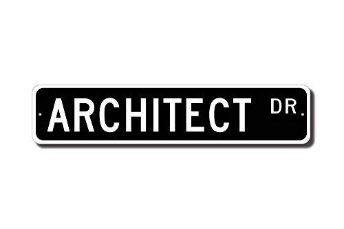 qidushop Architect - Placa Decorativa para Arquitecto (Metal, para Pared, diseño de Callejero, Regalo Divertido), diseño de Arquitecto