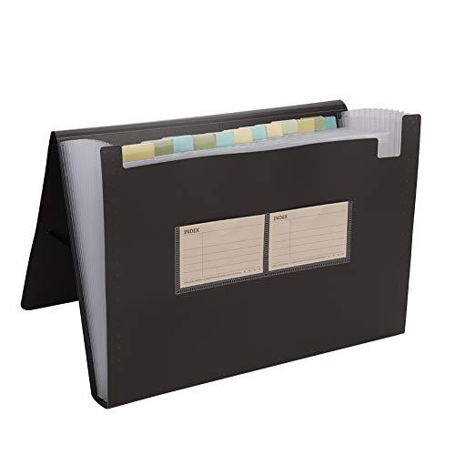 Archivador con 12 compartimentos para documentos ampliable A4 carpeta de papel con etiquetas clasificador de fuelle portátil organizador para carpetas oficina casa escuela