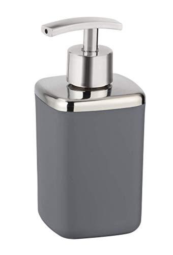 WENKO Seifenspender Barcelona Anthrazit - Flüssigseifen-Spender, absolut bruchsicher Fassungsvermögen: 0.37 l, Kunststoff (TPE), 7 x 16 x 7 cm, Anthrazit