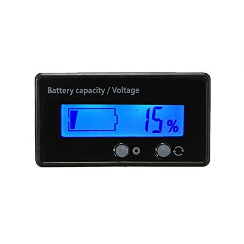 MiOYOOW Medidor de capacidad de la batería, monitor LCD de la capacidad de la batería 6-63 V, indicador de tensión de la batería Voltímetro