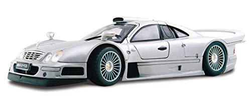 Maisto Mercedes CLK-GTR Streetversion, Modellauto mit Federung, Maßstab 1:18, Türen und Motorhaube beweglich, Fertigmodell, lenkbar, 24 cm, schwarz (536849-1)