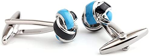 BO LAI DE Men's Cufflinks Knot Shaped Metal Cufflinks Shirt Cufflinks Suitable for Business Events, Conferences and Dances, with Gift Box, Blue and Black