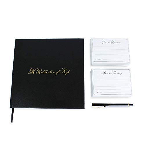 A Celebration of Life 96 Page Funeral Guest Book with Professional Picture Frame, Memorial Cards, and Gold Pen (Black Leather)