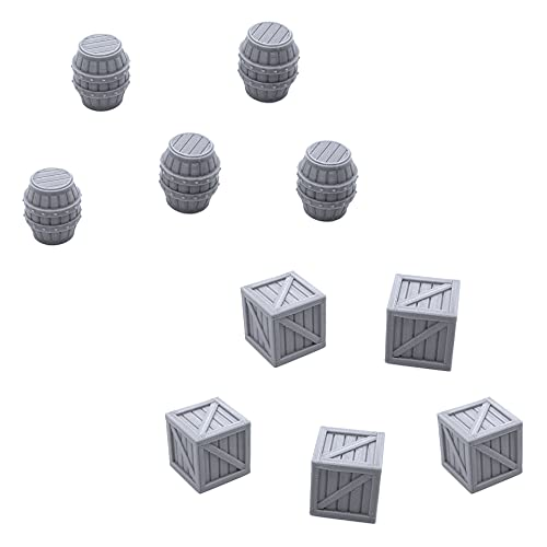 EnderToys Crates and Barrels, Terrain Scenery for Tabletop 40mm Miniatures Wargame, 3D Printed and Paintable
