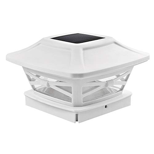 Davinci Lighting Renaissance Solar Outdoor Post Cap Lights - Includes Bases for 4x4 5x5 6x6 Posts - Bright LED Light - Pearl White (1 Pack)