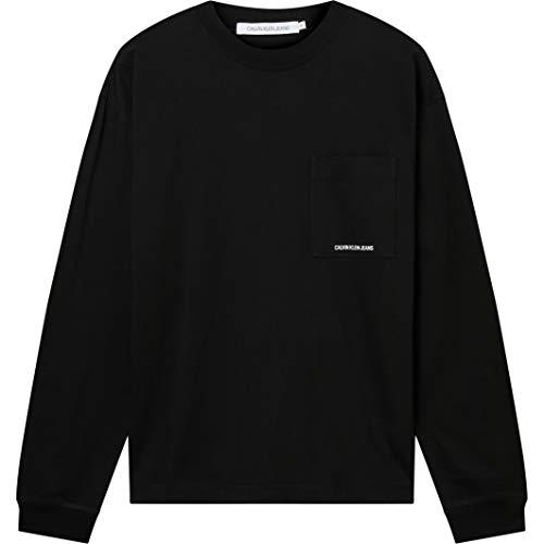 Calvin Klein Jeans Micro Essential Pocket L/S Tee T-Shirt, CK Nero, M Uomo