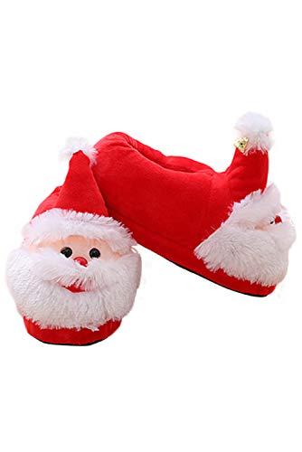 Zapatos Antideslizantes Caseras de Navidad Santa Claus Zapatillas Flip Flop de Otono Invierno para Mujer, Talla 36 Europea