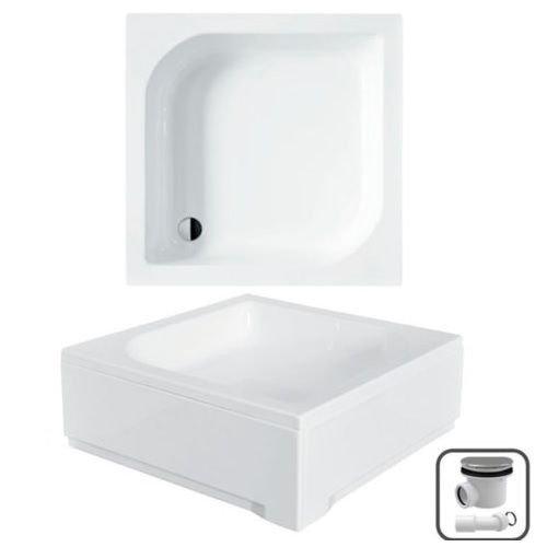 VBChome Duschwanne 80x80 cm Duschtasse mit Acrylschürze Quadrat ARES L-Form + Siphon Viega Domoplex fi50
