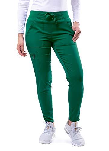 Adar Pro Scrubs for Women - Ultimate Yoga Jogger Scrub Pants - P7104 - Hunter Green - M