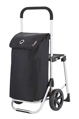 ShoppingCruiser \'Shop & Relax\' | Einkaufswagen mit Sitz | Einkaufstrolley | Schwarz | 40 Liter |