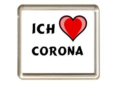 Ich liebe Corona Kühlschrankmagnet (Vorname/Zuname/Spitzname)