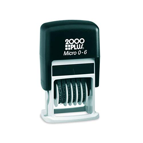 2001 PLUS Self-Inking Numberer Stamp, 6-Bands, 1/2', 5/32' Number Height, Black Ink (010132)