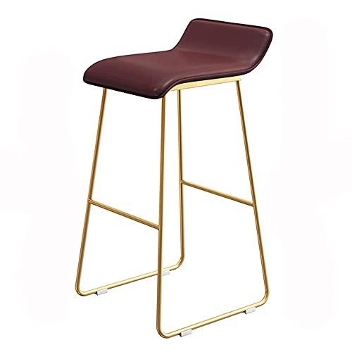 WSDSX Stuhl Barhocker Moderne Metallbeine Hoher Hocker Barmöbel PU-Sitz Esszimmerstuhl Geeignet für Geschäftsbüros 75 cm hoch (Farbe: BRAUN)