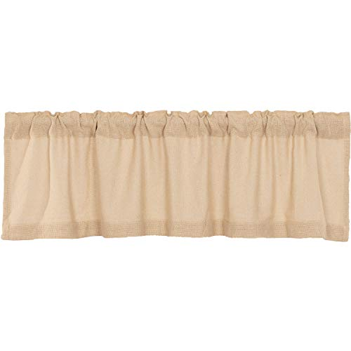 VHC Brands Burlap Window Farmhouse Cotton Curtain Topper for Living Room, Kitchen Valance, 16x60, Beige