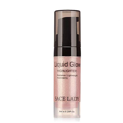 lulongyansf Bolso de 1bottle Face Glow Liquid Highlighter Brighten Shimmer Liquid Highlighter 3D Maquillaje Ultra Suave Brillo de la Cara Primer 6 ml / 0,2 oz (02 Rose Oro)