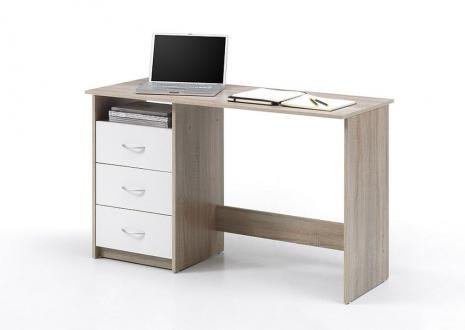 Stella Trading Schreibtisch Jugendzimmer Schreibtisch Büroschreibtisch weiß, Eiche Sonoma Nachbildung, BxHxT 120 x 76 x 50 cm