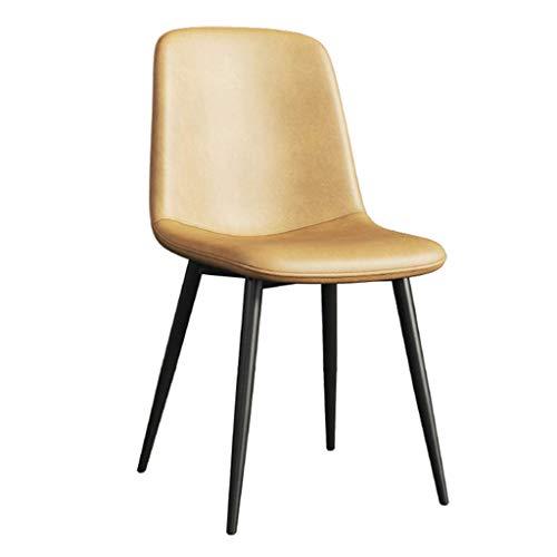 Dining Chair Wohnzimmer Schlafzimmer Zähler Büroecke Freizeit Rezeption Stuhl mit Faux Matte Leder Gepolsterte Sitz und Metallbeine, Armless YMIK (Color : Camel)