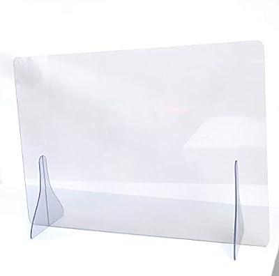 Mampara de protección transparente antireflexión Medida agujero central: 35 cm. x 15 cm abricada en plástico acrílico de 5 mm Fácil instalación y limpieza Protección para al personal de cara al público