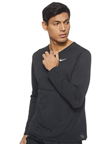 Nike M NK Breathe Run LS T-Shirt à Manches Longues Homme, Black/Black/(Reflective Silv), FR : L (Taille Fabricant : L)