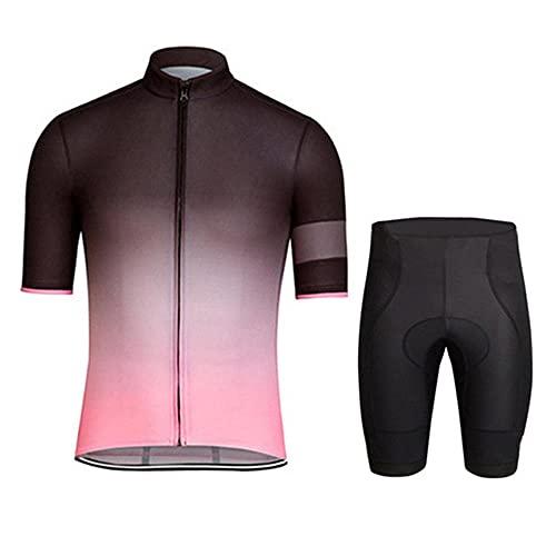 HXTSWGS Conjunto de Jersey de Ciclismo para Hombre, Pantalones Cortos de Bicicleta de compresión de Manga Corta para Hombre, Ropa de Ciclismo Acolchada con gel-A08_S
