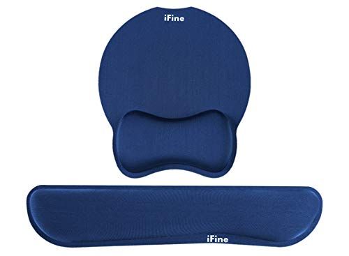 iFine Upgrade Enlarged SuperiFine Fibre Soft Smooth Gel Ergonomic Mouse Pad Wrist Support & Keyboard Wrist Rest for Desktop, Laptop, Mac, Gaming - for Stress Free Typing (Navy Blue)