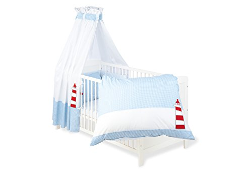 Pinolino 60946-2 - Set für Kinderbett, 4-teilig 'Schiff Ahoi'
