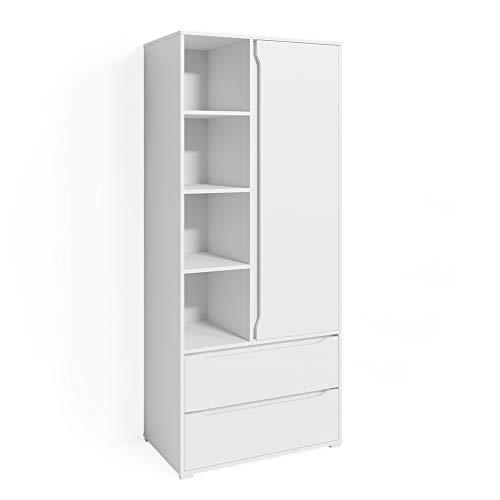 armadio camera da letto con cassetti Vicco Guardaroba Armadio per camera da letto Ruben 80cm con asta appendiabiti cassetti
