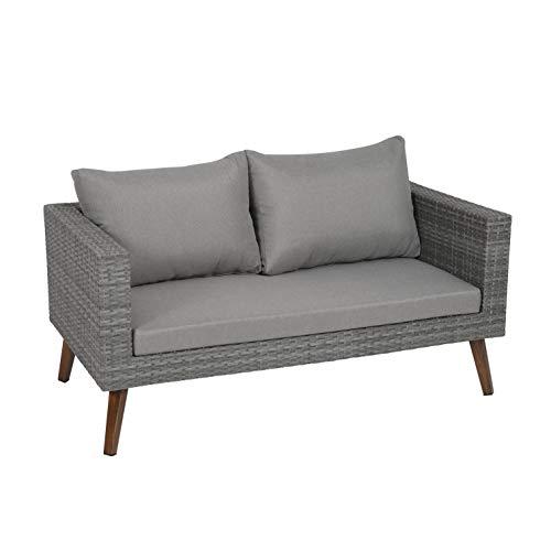 greemotion Gomera Lounge-Sofa für 2 Personen, anthrazit/braun, ca. 140 x 64 x 75 cm